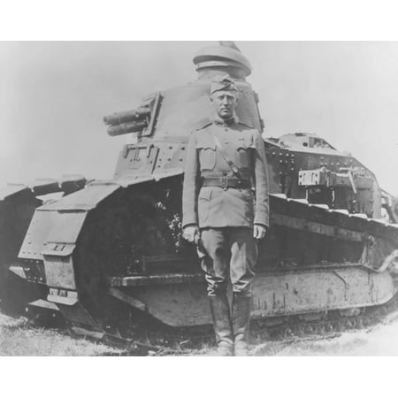 Digitally restored vector image of General George Smith Patton and a French Renault tank Canvas Art - John ParrotStocktrek Images (32 x 25)