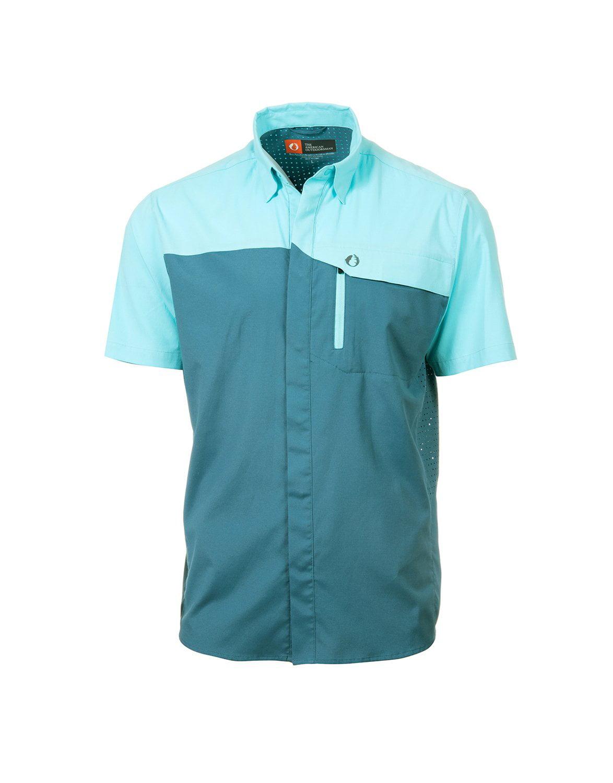 American Outdoorsman Short Sleeve Fishing Shirt Light Blue M for sale online