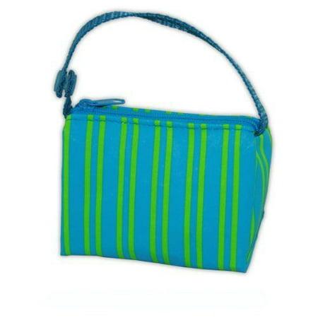 Booginhead Blue Green Stripe Pacipouch Pacifier Bag Holder Paci Pouch