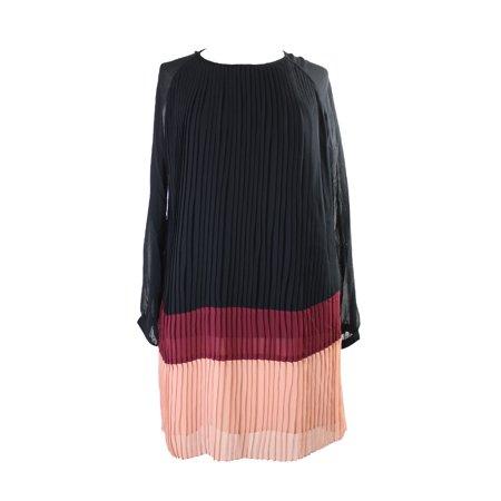 Vertigo Black Merlot Colorblocked Long Sleeve Pleated Chiffon Dress