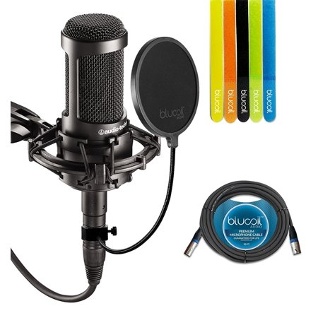 Large Diaphragm Multi Pattern Condenser (Audio-Technica AT2035 Large Diaphragm Studio Cardoid Condenser Microphone Bundle with Shock Mount, Blucoil Pop Filter, 20 Ft XLR Cable AND 5 Pack Cable Straps)