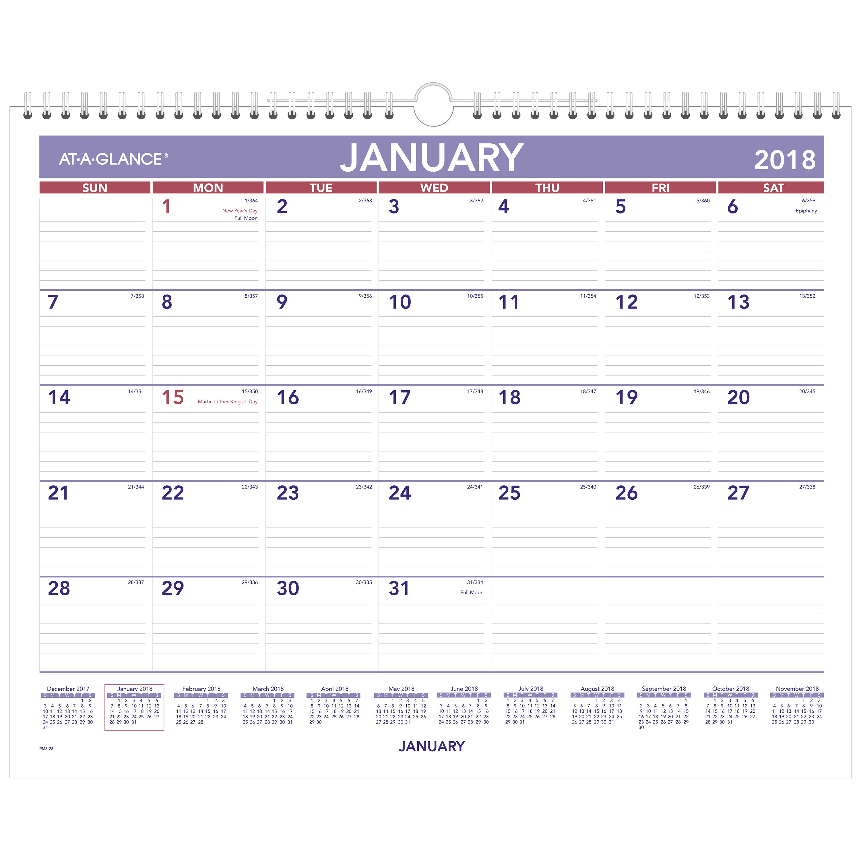 "2018 AT-A-GLANCE Monthly Wall Calendar, 12 Months, January Start, 15"" x 12"", Wirebound (PM8W28)"