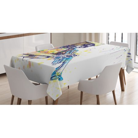 Jazz Music Decor Tablecloth, Trumpeter with Paint Splashes at the Background Entertainment Vivid Art, Rectangular Table Cover for Dining Room Kitchen, 60 X 84 Inches, Purple Yellow, by Ambesonne