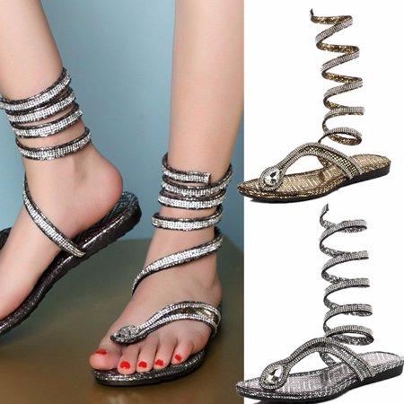 b665121cd New Fashion Womens Flat Heel Bling Rhinestone Slingbacks Gladiator Sandals  Shoes - Walmart.com