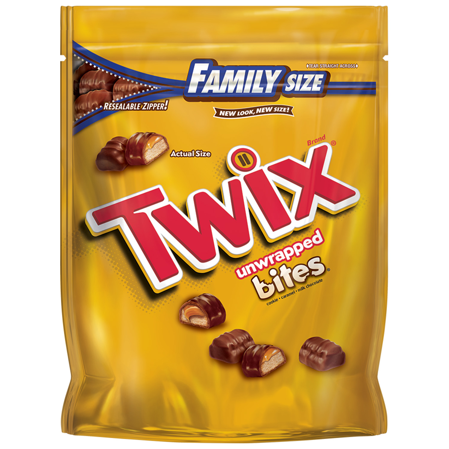 TWIX Caramel Bites Size Chocolate Cookie Bar Candy Family Size Pouch, 14.8 oz