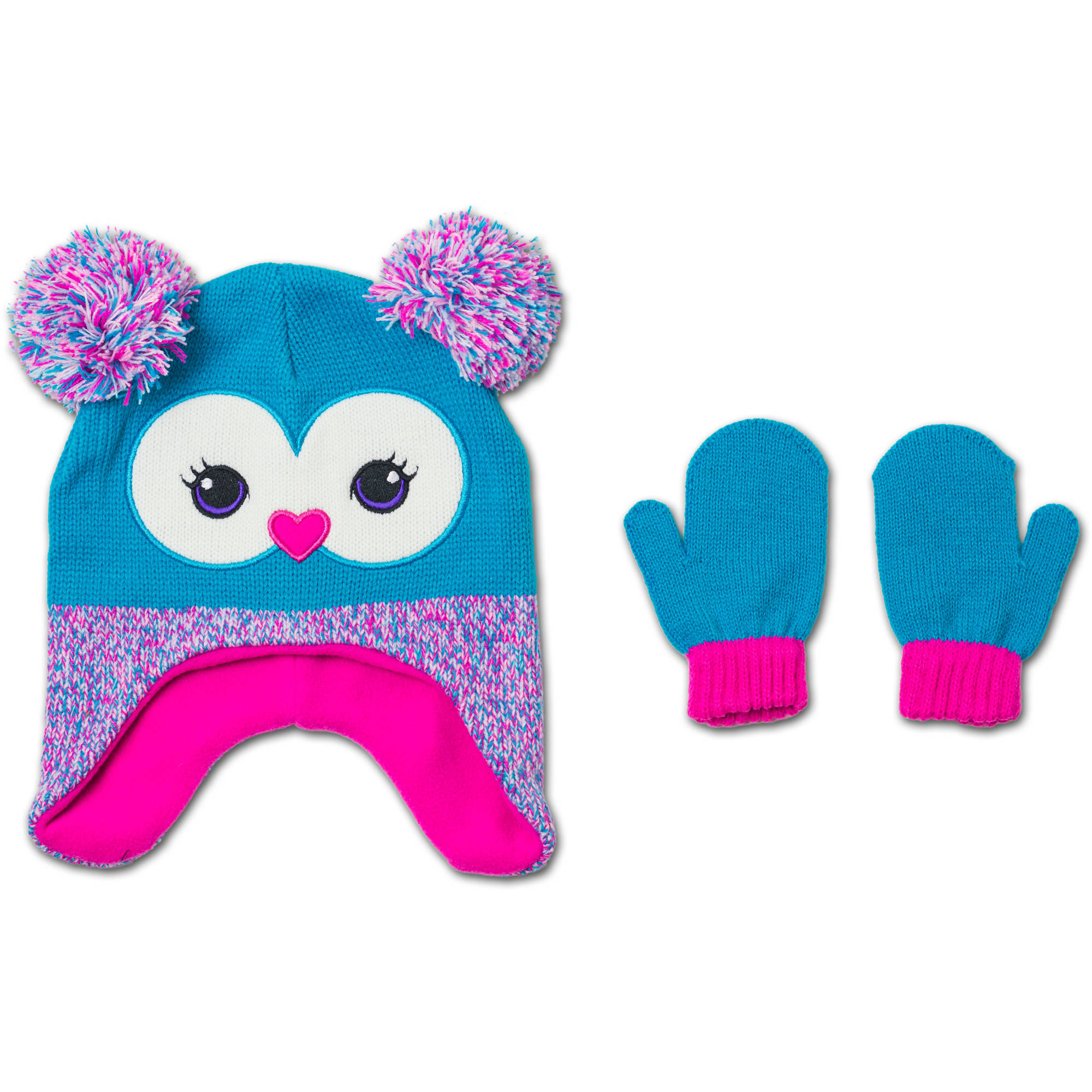 Healthtex Baby Toddler Girl Novelty Critter Hat and Mitten Accessory Set