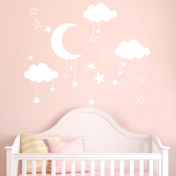 KABOER Moon and Stars Wall Decal Sticker for Kids Boy Girls Baby Room Decoration Night Nursery Wall Decor Home House Bedroom Design