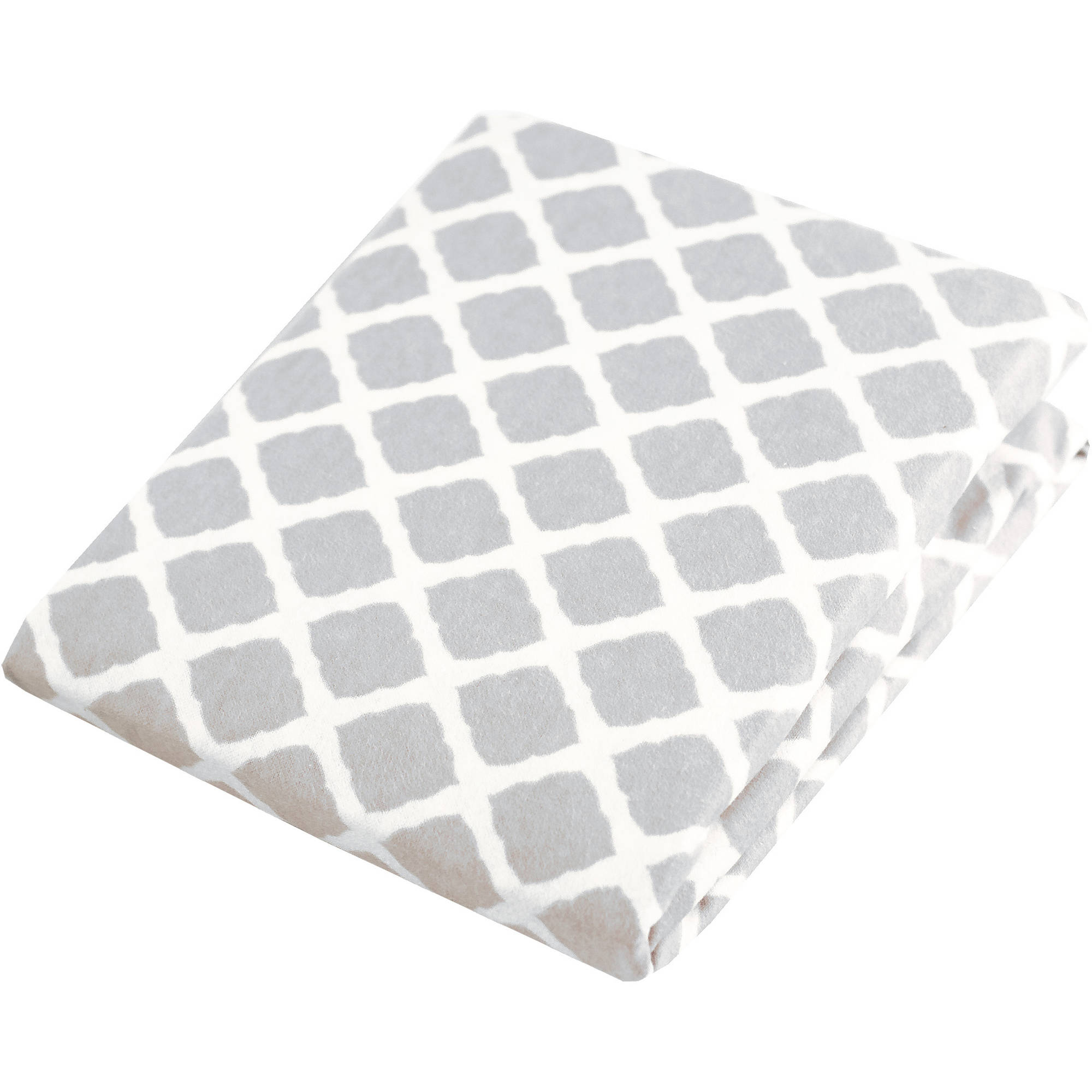 Kushies Bassinet Fitted Flannel Sheet, Lattice Grey