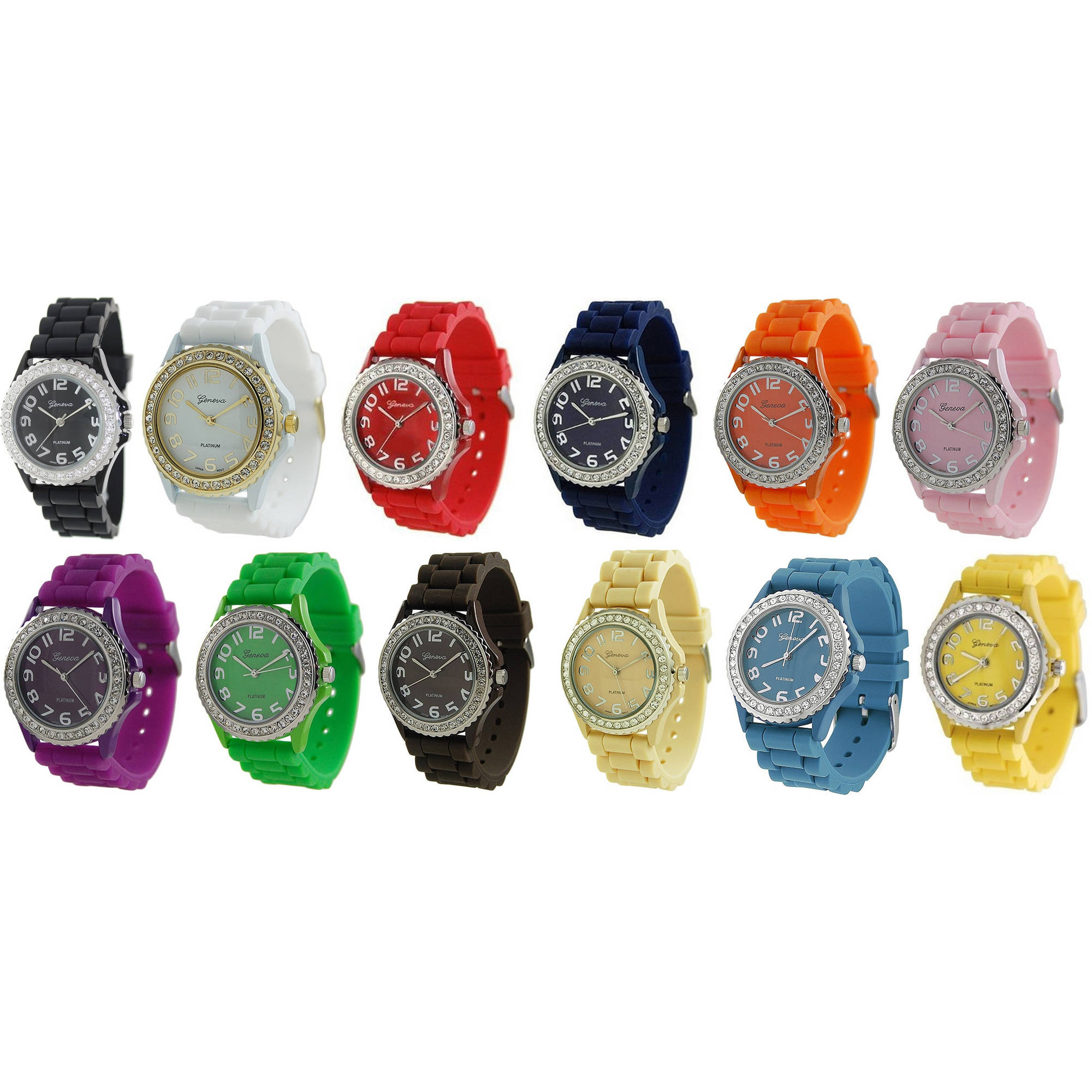 Geneva Rhinestone-Accented Large Face Silicone Watch Set, 12-Piece