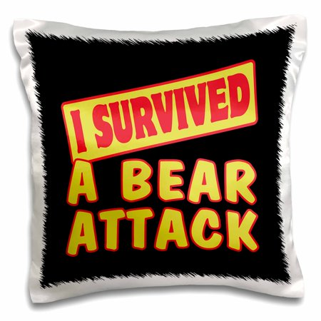 3dRose I Survived A Bear Attack Survial Pride And Humor Design - Pillow Case, 16 by -