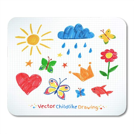 POGLIP Hand Marker Summer Felt Pen Child Drawing on Checkered School Butterfly Flower Mousepad Mouse Pad Mouse Mat 9x10 inch - image 1 of 1