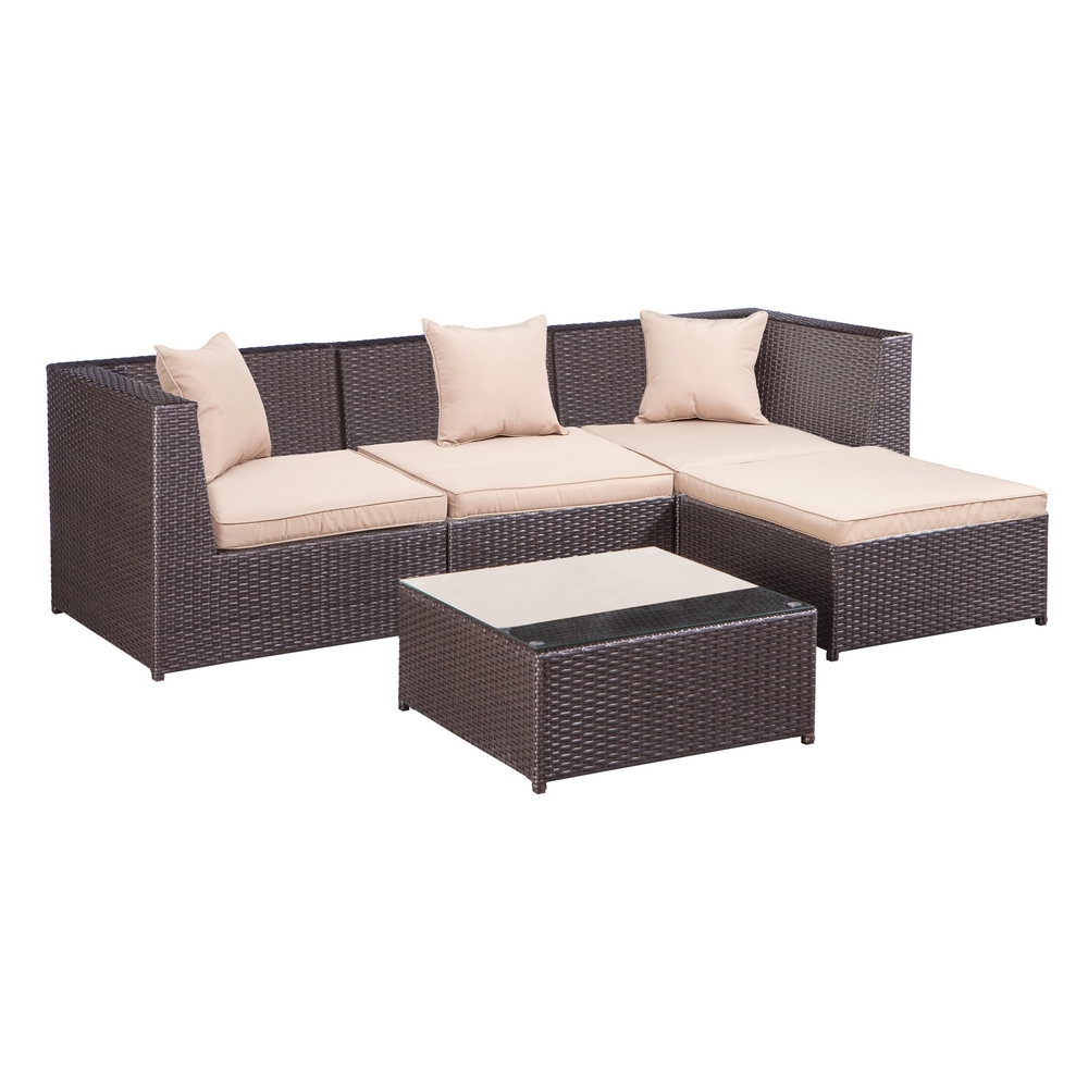 Palm Springs Outdoor 5 pc Furniture Wicker Patio Set w/ Chairs, Table & Cushions