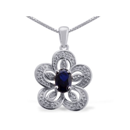 - 925 Sterling Silver Round Created White Sapphire Multi Gemstone Solitaire Pendant Necklace 18