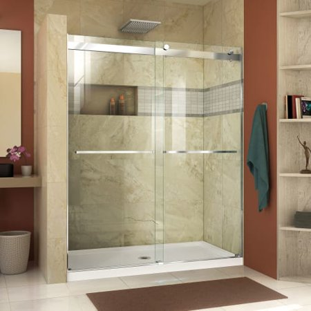 DreamLine Essence 56-60 in. W x 76 in. H Frameless Bypass Shower Door in Chrome
