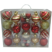 Holiday Time 64-Piece Shatterproof Christmas Ornament Set, Choose a Color