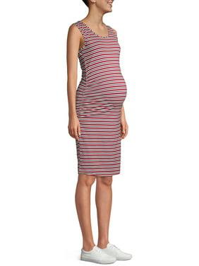 Oh! Mamma Maternity Sleeveless Multi-Stripe Tank Dress