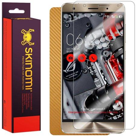 - Skinomi TechSkin Gold Carbon Fiber & Screen Protector for Asus Zenfone 3 Deluxe