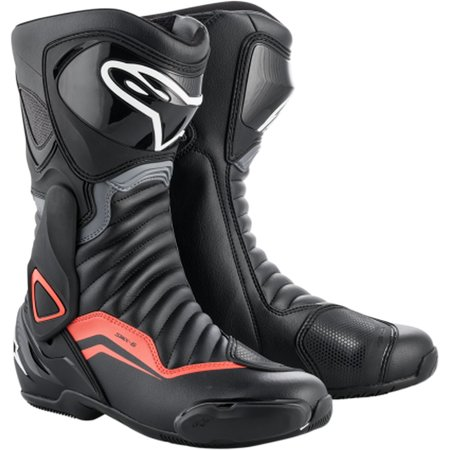 Alpinestars Smx Plus Street Boots (Alpinestars SMX-6 V2 Mens Leather Boots Black/Gray/Red)