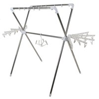 LYUMO Extendible Drying Clothes Rack Stainless Steel Folding Coat Stand Standing Clothes Airers for Indoor and Outdoor