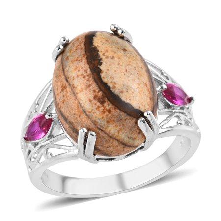 Picture Jasper Cabochon Ring (Statement Ring Picture Jasper Ruby Cubic Zirconia CZ)