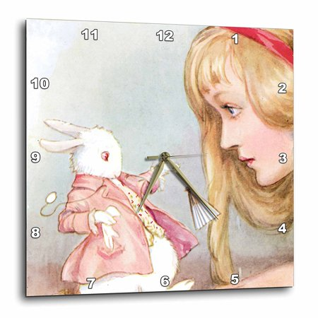 Rabbit Clock - 3dRose Alice in Wonderland with Rabbit vintage art, Wall Clock, 13 by 13-inch