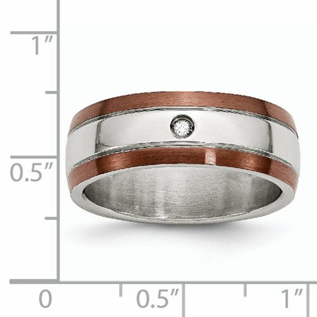 Stainless Steel Brown Plated Brushed Diamond 8mm Wedding Ring Band Size 13.00 Man Fancy Fashion Jewelry Gift For Dad Mens For Him - image 4 de 11