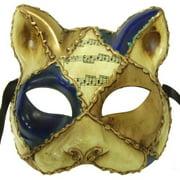 Italia Cat Costume Mask Blue/Gold One Size