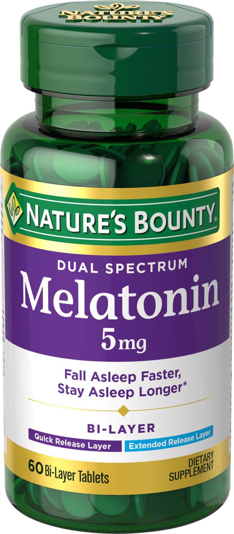 melatonin bounty nature mg dual spectrum bi tablets layer melatonina natures dissolve quick comprar sleep magnesio aid contraindicaciones tabletas cloruro