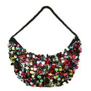 "10.5"" Diva Fashion Purse Small Black Half Moon Handbag with Multicolored Sequins"