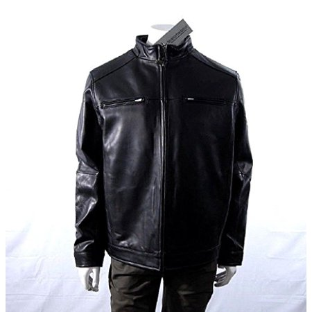 Boston Harbour Men's Lamb Leather Jacket with Zip Closure Chest Pockets (X-Large, Black)