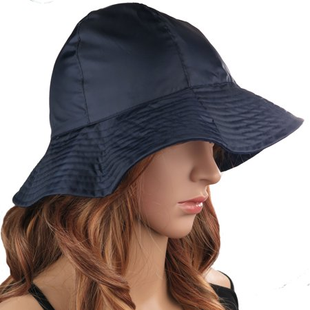 Womens Rain Hat 2-in-1 Reversible Cloche Bucket Hat