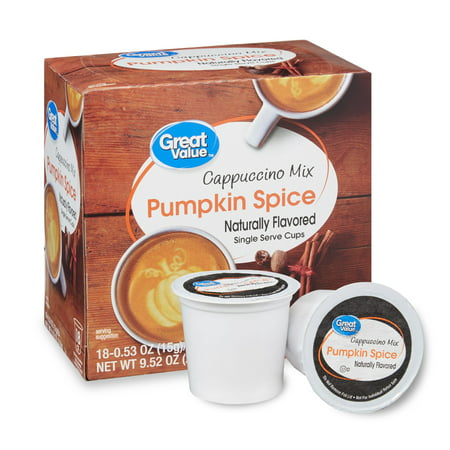 Great Value Pumpkin Spice Cappuccino Mix Coffee Pods, 18 - Style Cappuccino Cups