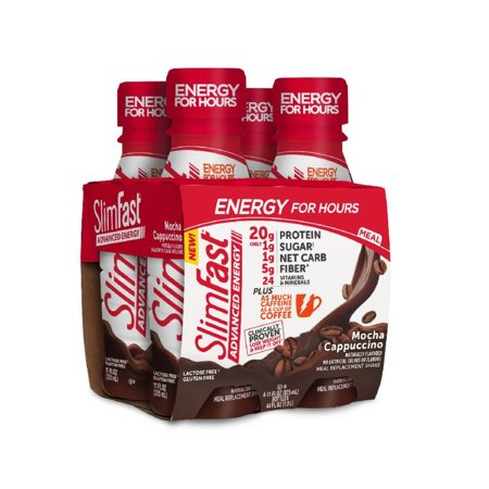 Slimfast Advanced Energy High Protein Ready To Drink Meal Replacement Shakes Mocha Cappuccino 11 Fl Oz Pack Of 4