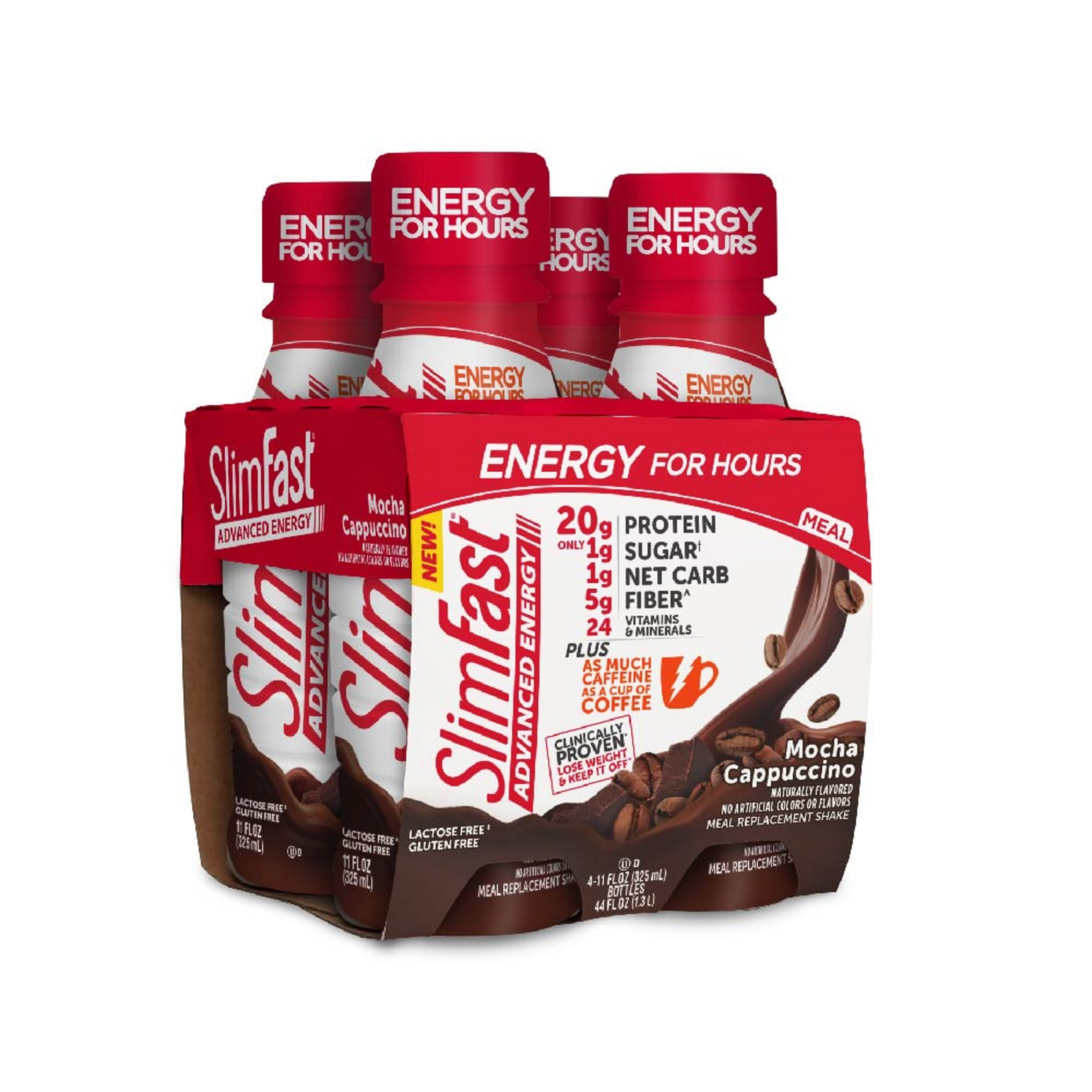 SlimFast Advanced Energy High Protein Ready to Drink Meal Replacement Shakes, Mocha Cappuccino, 11 fl. oz., Pack of 4
