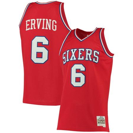 Julius Erving Philadelphia 76ers Mitchell & Ness Big & Tall Hardwood Classics Jersey - Red