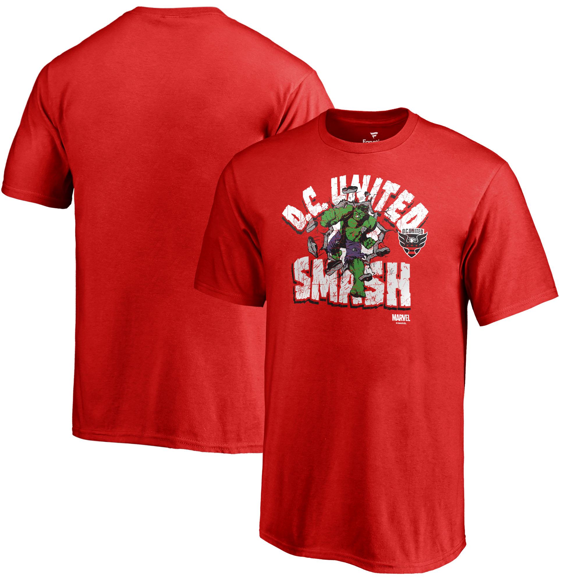 D.C. United Fanatics Branded Youth MLS Marvel Hulk Smash T-Shirt - Red