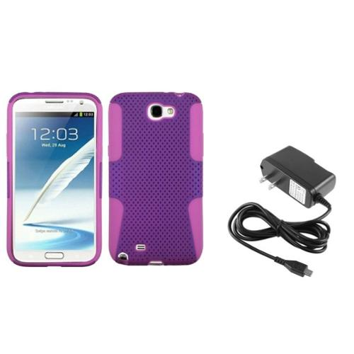 Insten Pink/Purple Hybrid Case+Home AC Wall Charger For Samsung Galaxy Note 2 II