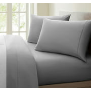1200 Thread Count 100% Cotton Solid Sheet Set (Queen, Grey)