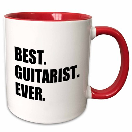 3dRose Best Guitarist Ever - fun gift for talented guitar players, black text - Two Tone Red Mug, (Best Acoustic Guitar Player Ever)