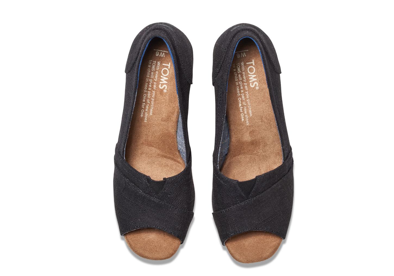85822fd9e4d TOMS - Toms Women s Classic Wedge Casual Shoe Black Linen Cork 5.5 B(M) US  - Walmart.com