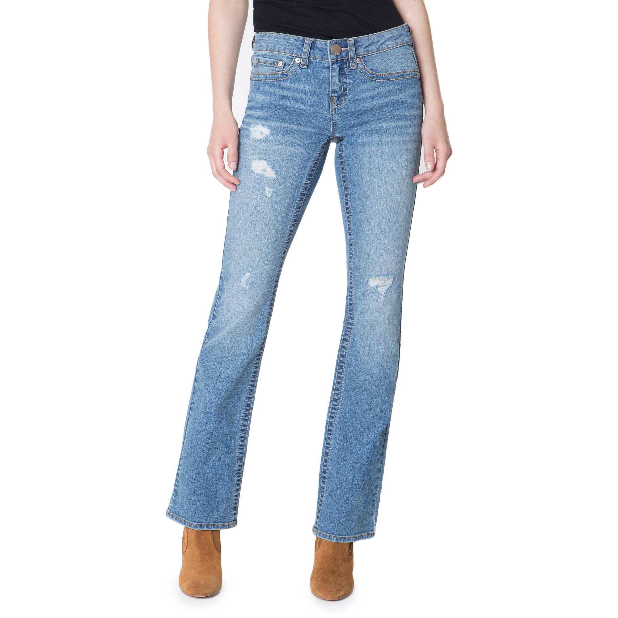 No Boundaries Juniors' Essential Distressed Bootcut Jeans
