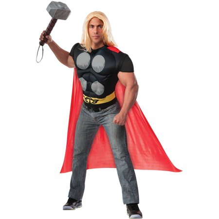 Thor Muscle Shirt and Cape Men's Adult Halloween Costume](Thor Classic Costume)