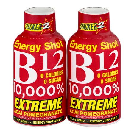 (4 Pack) Stacker 2 Extreme B12 10,000% Energy Shot Acai Pomegranate, 2 fl oz, 2 count