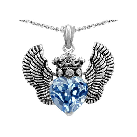 Star K Heart Shape Simulated Aquamarine Wings True Love Pendant Necklace in Sterling -