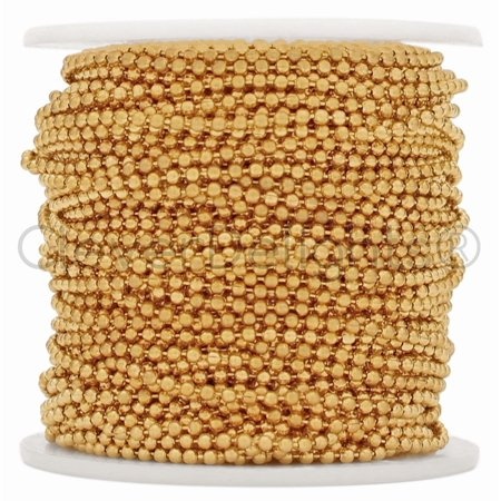CleverDelights Ball Chain Spool - 100 Feet - 2.0mm Ball - Champagne Gold Color (Champagne Gold Color)