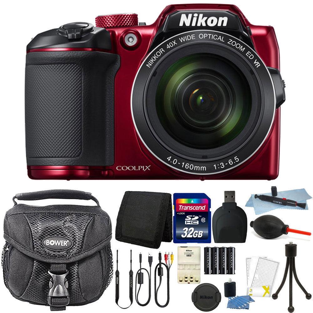Nikon Coolpix B500 16MP Point and Shoot Digital Camera Red + 32GB Accessory Kit