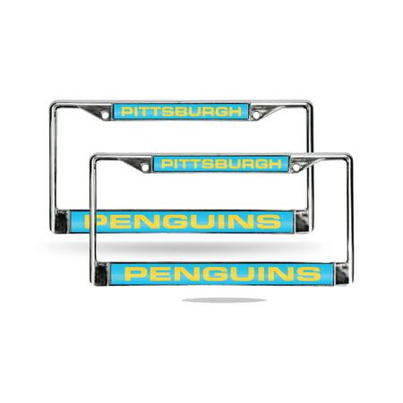 Pittsburgh Penguins Retro NHL Chrome Metal (2) Laser Cut License Plate Frame Set