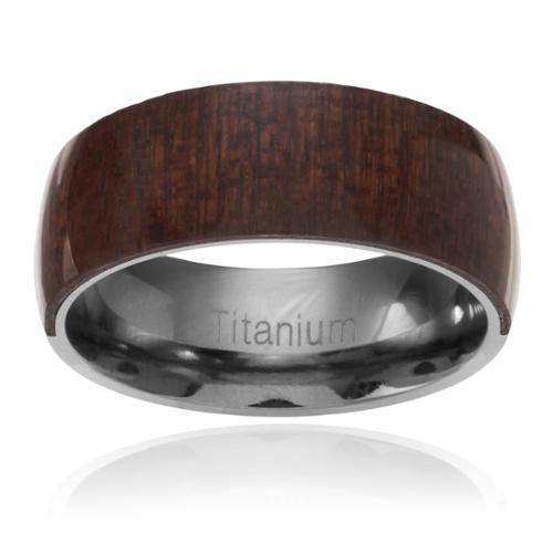 Territory Men's Titanium Mahogany Wood Inlay Band