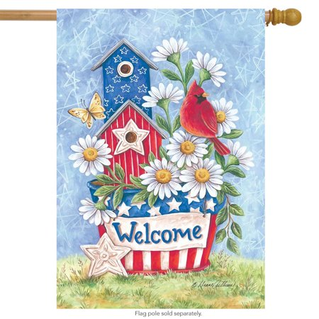 Hold Space for Patriotic Spring House Flag Welcome Floral 28