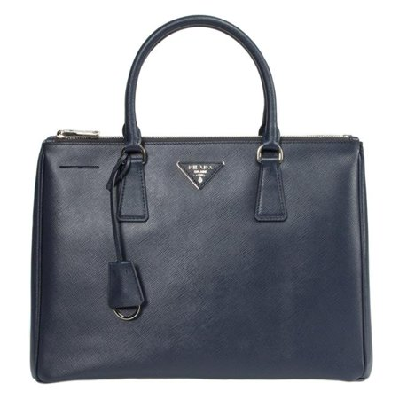 Prada PRD-HBAG-1BA274-F0DMH Galleria Saffiano Leather Bag with Silver Hardware, Navy Prada Shopper Bag